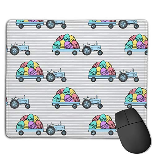 Tractors with Easter Eggs Brights On Grey Stripes LAD Computers Thick Keyboard Non-Slip Rubber Base Mouse pad Mat 7 X 8.6 inch
