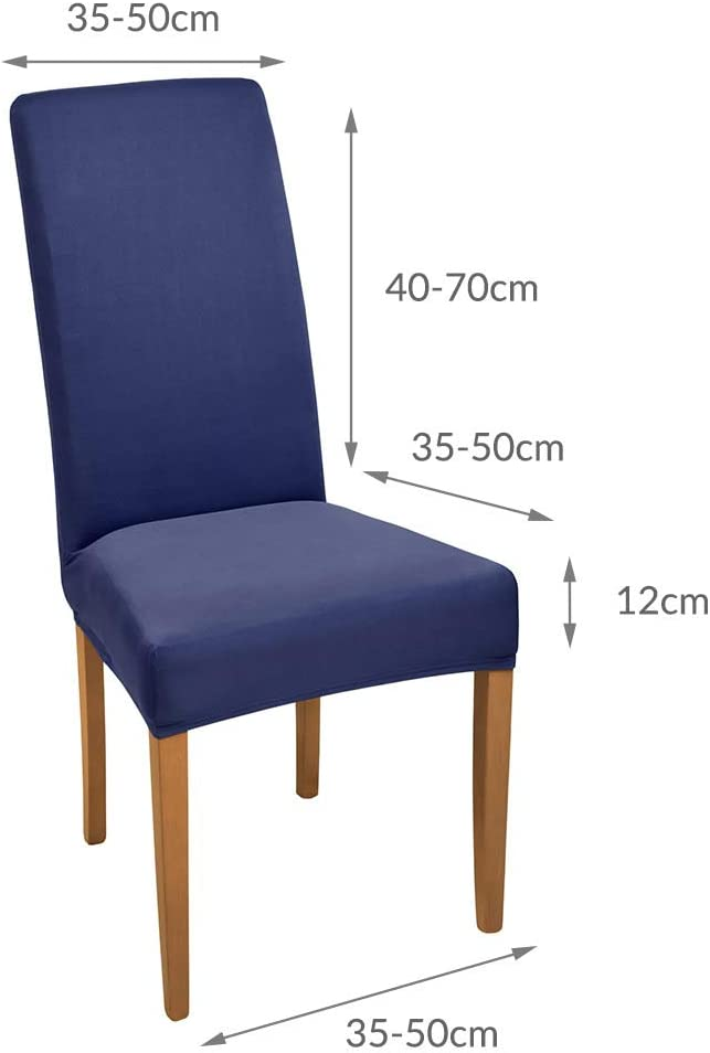 Beautissu 4 Set Stretch Cover Mia Polyester Dining Chair Slipcover 45x45cm Bi-Elastic Fitted Cover Chair Protection Anthracite Blue