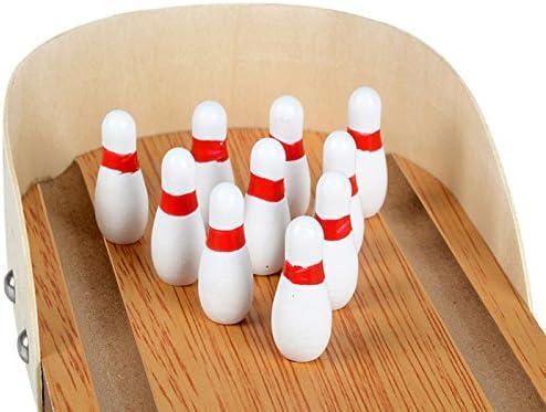 1Set anti-stress table desktop mini bowling game set wooden family party t Tw