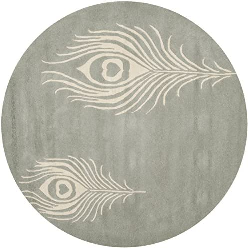 Safavieh Soho Collection SOH704C Handmade Grey and Ivory Premium Wool Round Area Rug 8' Diameter