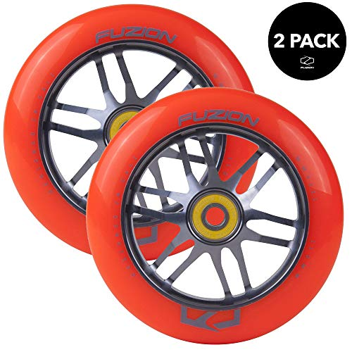 (Fuzion Pro Scooter Wheels 110mm Hollow Core Stunt Scooter Sig Wheels with ABEC - 9 Bearings Pair (Dose Orange/Grey))