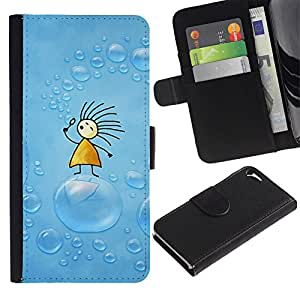 KingStore / Leather Etui en cuir / Apple Iphone 5 / 5S / Jabón Azul Dibujo Niños Niños;