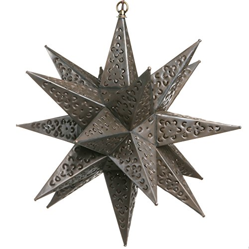 18 Inch Mexican Hanging Tin Star Light - Flower Cut