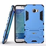 Heartly Samsung Galaxy C7 Back Cover Graphic Kickstand Hard Dual Rugged Armor Hybrid Bumper Case - Power Blue