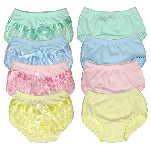 B-One Kids Baby Girls 100% Cotton Diaper Cover Bloomers 4 Pack (Size 4 (4 Toddler), Pastel)