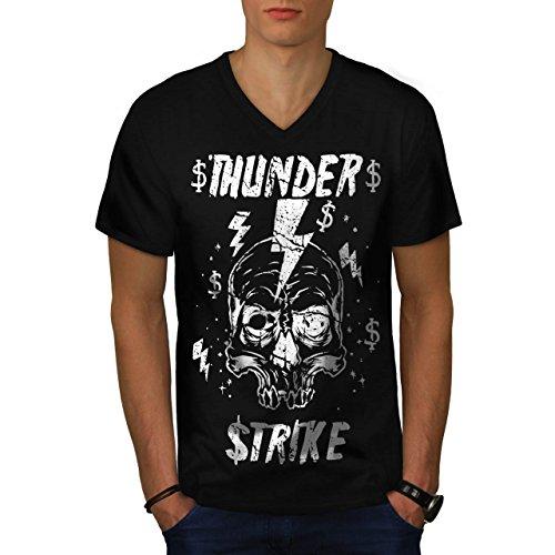 [Skull Thunder Strike Lightning Men NEW S V-Neck T-shirt | Wellcoda] (Thunder Lightning Costume)