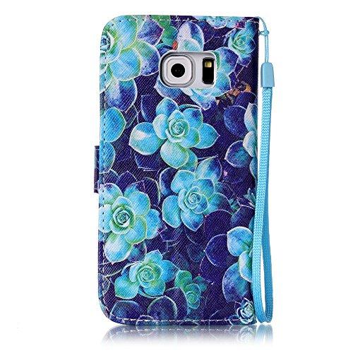 Custodia Samsung Galaxy S6 edge / G925F Cover Case, Ougger Fiore Blu Portafoglio PU Pelle Magnetico Stand Morbido Silicone Flip Bumper Protettivo Gomma Shell Borsa Custodie con Slot per Schede