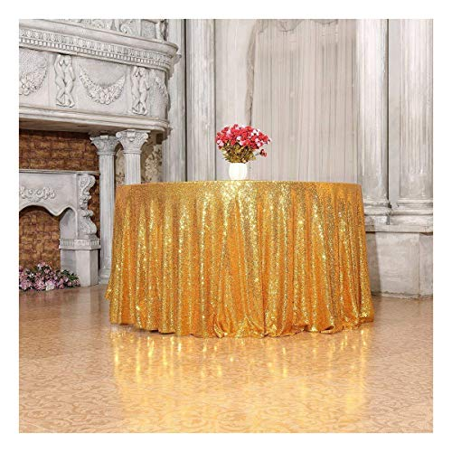 3e Home 108-Inch Round Sequin TableCloth for Party
