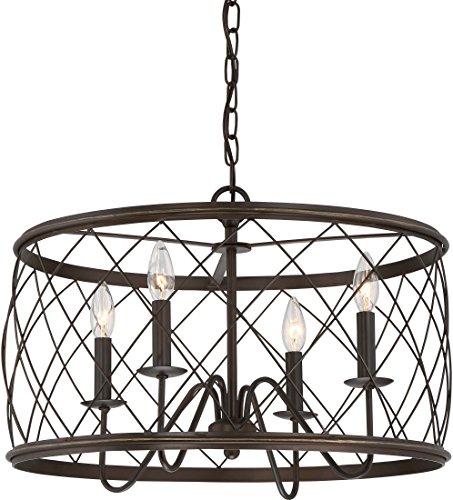 Quoizel RDY2821PN Dury Cage Pendant Lighting, 4-Light, 240 Watts, Palladian Bronze (15