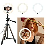 Eocean 10.2'' Selfie Ring Light with 50in Tripod for YouTube/Live Stream/Makeup, Mini Led Camera Ringlight for Vlog/Video/Photography Compatible with iPhone Xs/Max/XR 8/7 Plus/X/Android