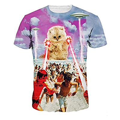 Unisex Hipster Clothing Galaxy T shirt Funny Cute Fat Cat 3D T-shirt