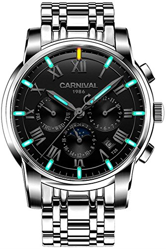 (CARNIVAL Men's Luminous Tritium Watch Automatic Mechanical Outdoor Military Solid Stainless Steel Watch (Silver/Blakc with Green Light))