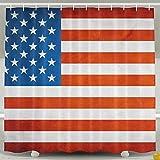 BINGO FLAG Funny Fabric Shower Curtain USA Flag Waterproof Bathroom Decor With Hooks 60 X 72 Inch