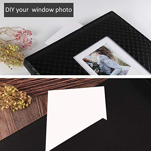 RECUTMS Photo Album 4x6 600 Photos Black Inner Page Button Grain Leather Big Capacity Pockets Pictures Album Birthday Christmas Photo Albums Wedding Anniversary (Black)