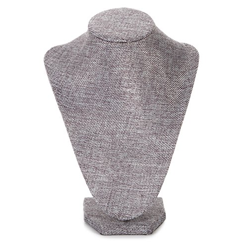 Darice Burlap Necklace Bust Jewelry Prop Display Grey