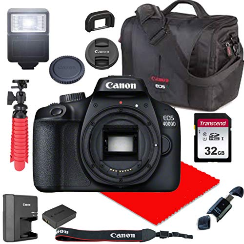 Canon EOS 4000D / Rebel T100 DSLR Camera Body Only (No Lens) + Canon Case + 32GB SD Card (13pc Bundle)