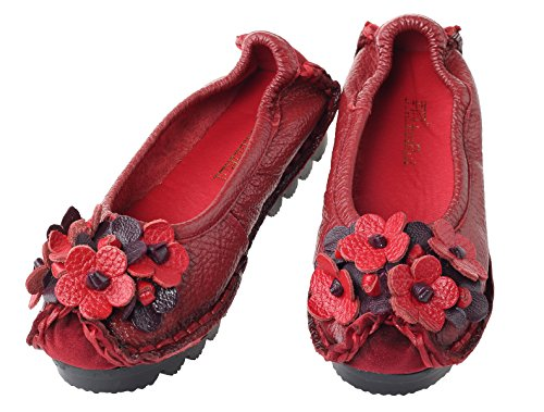 Mordenmiss Womens Fall New Flat Flower Pattern Shoes Stile 3-rosso