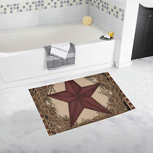 - Country Primitive Barn Star Wreath Live Laugh Love Custom Non-Slip Bath Mat Rug Bath Doormat Floor Rug for Bathroom 20 X 32 Inch