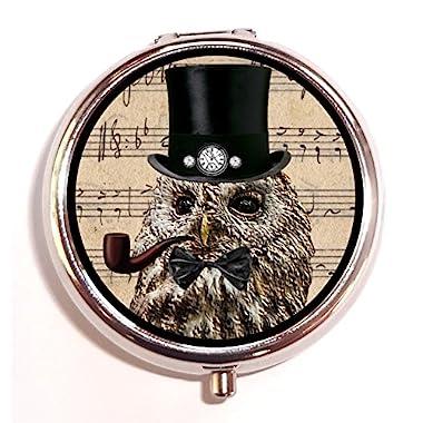 Mr. Steampunk Owl Pill Box Pill Case