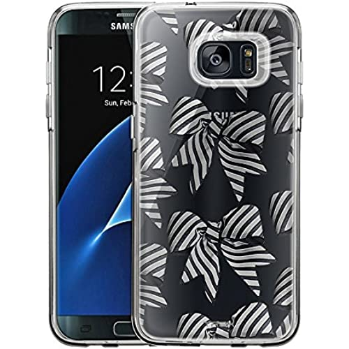 Samsung Galaxy S7 Edge Case, Slim Fit Snap On Cover by Trek Striped Bows Clear Case Sales