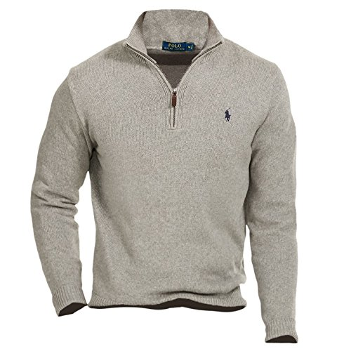 Polo Ralph Lauren Mens Cotton Knit 1/2 Zip Sweater Gray XS