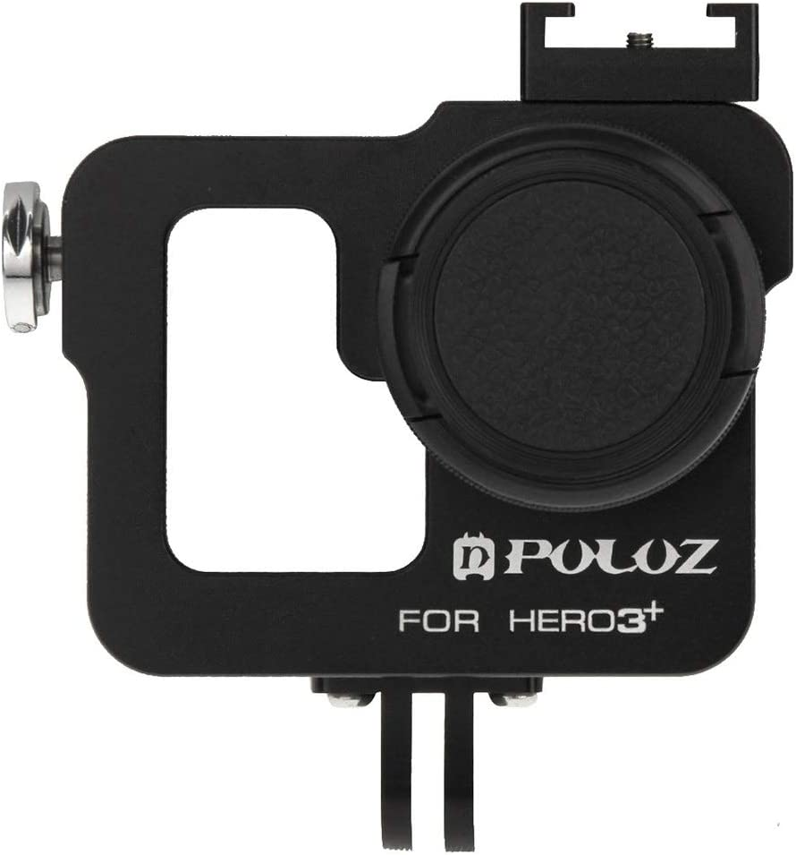 Black //3 MEETBM ZIMO,Housing Shell CNC Aluminum Alloy Protective Cage with 37mm UV Lens Filter /& Lens Cap for GoPro HERO3 Color : Black