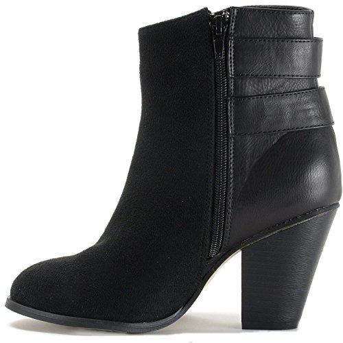 alpine swiss Nendaz Womens Tailored Booties 3 Block Heel Black Dr9O5X51Gu