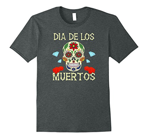 Sugar Skull Costume Male (Mens Sugar Skull Halloween Costume Dia De Los Muertos T-Shirt XL Dark Heather)