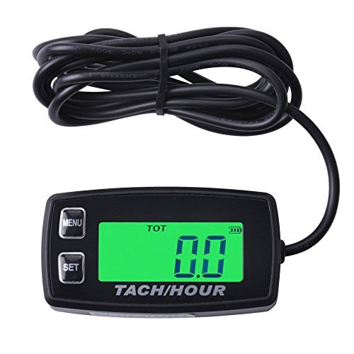 Snow Card Pit - Runleader RL-HM035R Inductive tachometer with hour meter backlit display for all gasoline engine ATV UTV dirtbike motobike motocycle outboards snowmobile pitbike PWC marine boat waterproof