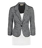 HyBrid & Company Women's Casual Work Office Blazer Jacket JK1131 E6500 Black/Whit M