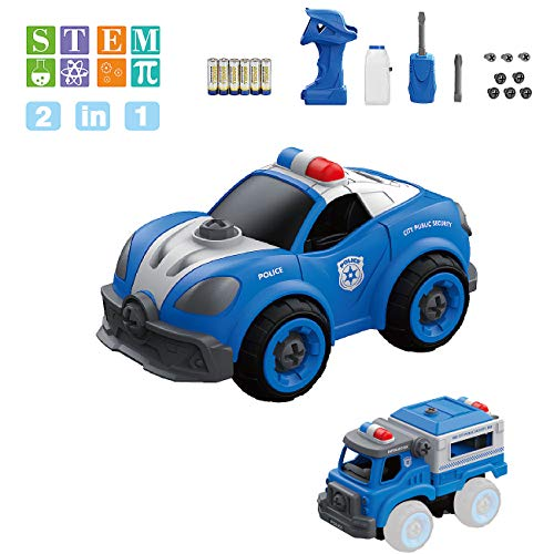 Kid Toys Take Apart Car - FREE TO FLY 2 in 1 Building Police Car RC Remote Control With Electric Play Drill and Alarm Sounds,Ideal Educational STEM Toy Gift for Boys Girls Age 3 4 5 6 7          from FREE TO FLY