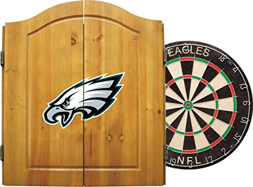 Imperial Officially Licensed NFL Merchandise: Dart Cabinet Set with Steel Tip Bristle Dartboard and Darts, Philadelphia Eagles by Imperial