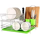 2 Tier Stainless Steel Dish Drying Rack With Tray,Enamel Utensil Holder,Plates Organizer Drainer,Kitchen Rack Knife Dish Strainer For Counter- Large Capacity