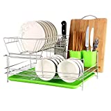 okdeals 2 Tier Stainless Steel Dish Drying Rack With Tray,Enamel Utensil Holder,Plates Organizer Drainer,Kitchen Rack Knife Dish Strainer For Counter- Large Capacity