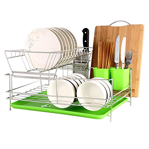 Stainless Steel Dish Strainer (okdeals 2 Tier Stainless Steel Dish Drying Rack With Tray,Enamel Utensil Holder,Plates Organizer Drainer,Kitchen Rack Knife Dish Strainer For Counter- Large Capacity)