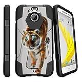 MINITURTLE Case Compatible w/ HTC Bolt Case| HTC 10 Evo Tiger Case [SHOCK FUSION] High Impact Hybrid Dual Layer Case w/ [Stand] Blazing Tiger
