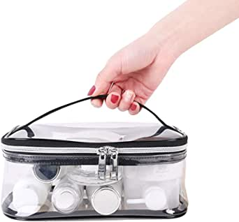 Apsung Portable Transparent Travel Toiletry Bag,Clear Makeup Bag,Standing Waterproof Clear Cosmetics Bag For Women and Men,Portable Shaving Washing Kits Organizer,Personal Care Trip Case