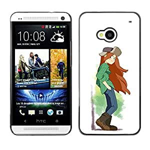 Shell-Star Arte & diseño plástico duro Fundas Cover Cubre Hard Case Cover para HTC One M7 ( Tomboy Girl Long Hair Art Painting Brown Boots )