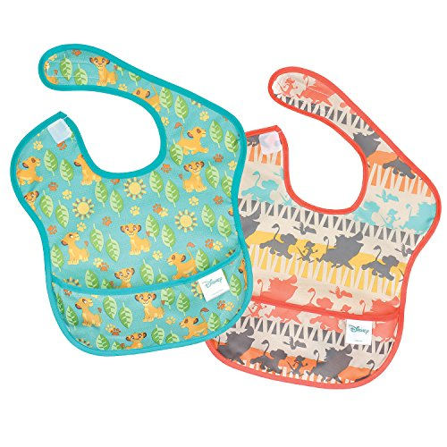 Bumkins Lion King Simba SuperBib, Baby Bib, Waterproof, Washable, Stain and Odor Resistant, 6-24 Months, 2-Pack -