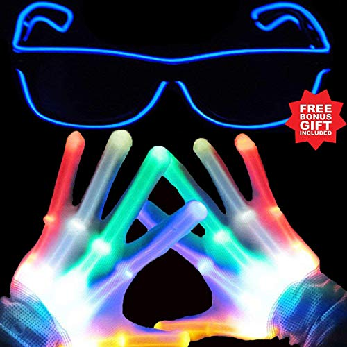 Gamtec Light Up Led Gloves with Finger Light Flashing LED Warm Gloves for Birthday Christmas Halloween Light Show Party Supplies Accessories Favors Great Gifts-Extra Bonus Free Led Glasses More -