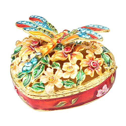 Crystal Dragonfly Trinket Box - Dragonfly Decoration Heart Shaped Jewelry Trinket Box Pewter Collectible Gift Jewelry HolderColor 1