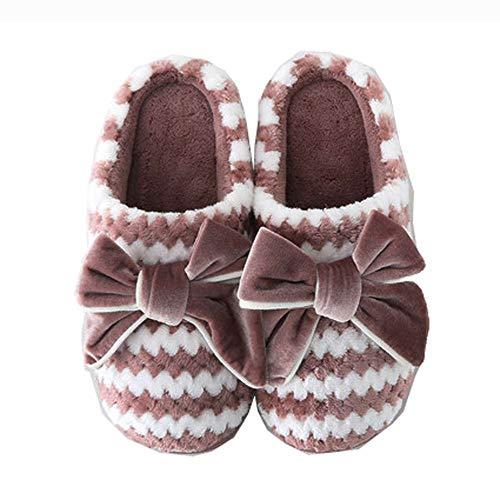 Soles Cozy Red 2 Foam Women's Bow House Velvet With Slip Slippers Non Memory wHPHxdq18