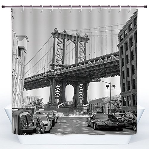 Durable Shower Curtain,Landscape,Brooklyn New York Usa Landmark Bridge Street with Cars Photo,Black White and Charcoal Grey,Polyester Shower Curtains Bathroom Decor Set with Hooks (York Brooklyn Used Cars New)