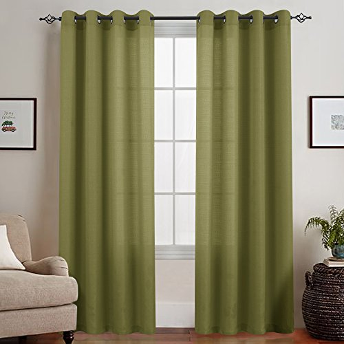 Sheer Curtains for Living Room Casual Weave Textured Privacy Semi Sheer Curtain Panels for Bedroom Windows Grommet Top 2 Panels, Olive 72