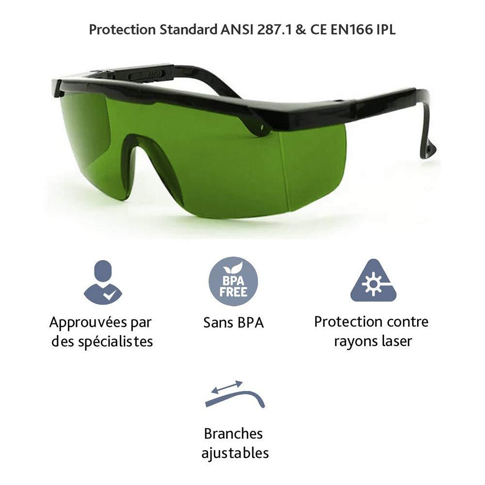 Gafas de protecci/ón l/áser IPL para Equipo de Belleza Gafas de Seguridad Verde Gafas antil/áser Gafas multifuncionales protecci/ón para los Ojos SZFREE