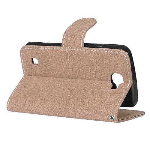 YHUISEN LG K4 Case, estilo retro de cuero sólido Premium PU carpeta de cuero de la caja Flip Folio cubierta de la caja de protección con ranura para tarjeta / soporte para LG K4 / Optimus Zone 3 ( Col Beige