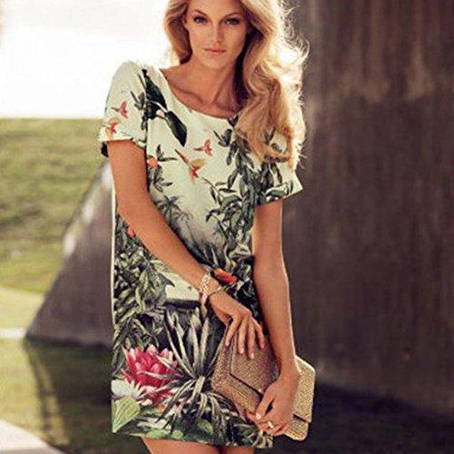 Urparcel Womens Floral Chiffon Dress Loose Top T-shirt Shirt Dress Short Sleeve
