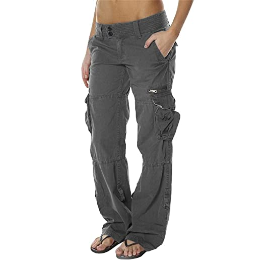 c9a29ec412d Image Unavailable. Image not available for. Color  Lynwitkui Womens Casual  Cargo Jogger Pants Active Military Army Style Low Waisted Trousers with  Pockets