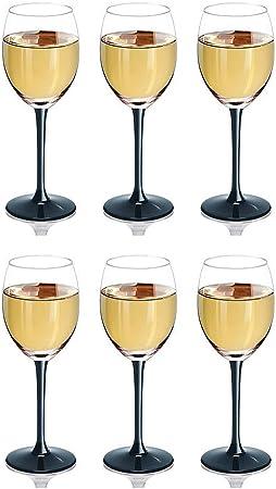 Verre transparent Lot de 6 verres à vin rouge Noir 330 ml avec Long pied Grand
