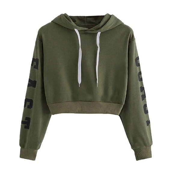 3c30fe58fe HARRYSTORE Womens Ladies Girls Hoodie Crop Tops Letter Print Long Sleeve Hooded  Sweatshirt Cropped Sweat Tops Pullover Jumpers  Amazon.co.uk  Clothing